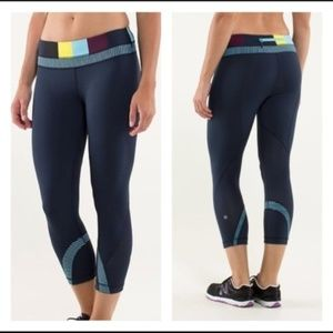 Lululemon Run Inspire Crop II Blue Leggings Tights